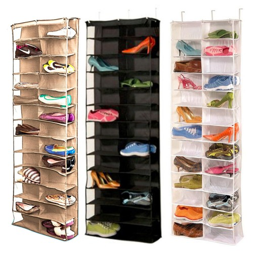 New Household Useful 26 Pocket Shoe Rack Storage Organizer Holder Folding Door Closet Hanging Space