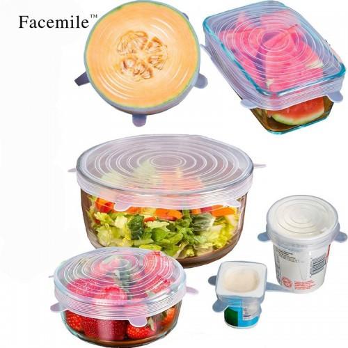 6PCS ReusableSilicone Saran Wrap Food Fresh Keeping Saran Wrap Kitchen Tools Silicone Food Wrap Seal lid