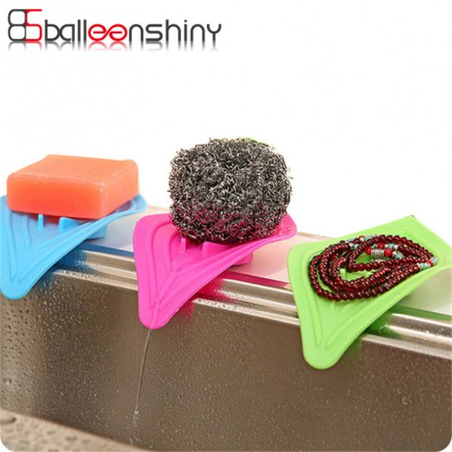 BalleenShiny Plastic Soap Dish Anti Slip Kitchen Sink Sponge Organizer Drain And Clean Soap Gadget Bathroom