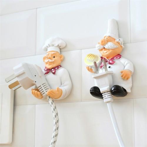 Cook Strong Self Adhesive Wall Storage Hook Hanger Cartoon Kitchen Outlet Plug Holder Keys Bathroom Sticky