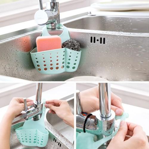 Kitchen Bathroom Sink Sponge Hanging PVC Shelving Rack Drain Faucet Storage Pail Shelves 4 Colors
