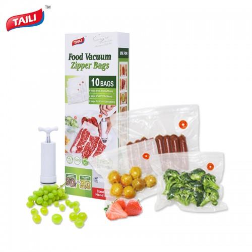 Kitchen Vacuum Bag for Food with Pump Vacuum Sealer Bags Plastic Zip Bag Keep Food Fresh