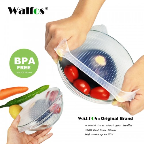 WALFOS food grade Keeping Food Fresh Wrap Reusable high stretch Silicone Food Wraps Seal Vacuum Cover