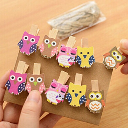 10pcs bag Cute Mini owl Wooden Clothes Photo Paper Peg Pin Clothespin Craft Food Postcard Clips