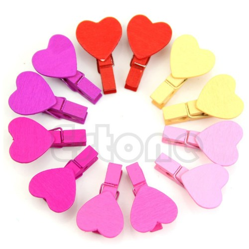 12Pcs Mini Heart Love Wooden Clothes Peg Pin Clothespin Photo Paper Craft Clips