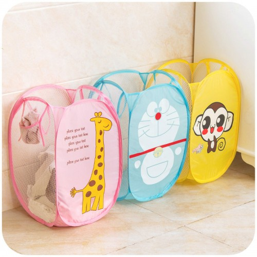 30 30 48cm Cartoon Hello Kitty Nylon Wire Laundry Basket Folding Storage Basket Dirty Clothes Storage
