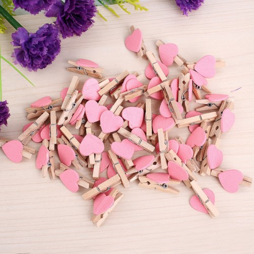 50pcs Mini Love Heart Wooden Clothespin Pinza de madera Clothespin bois Craft Clips DIY Clothes Photo
