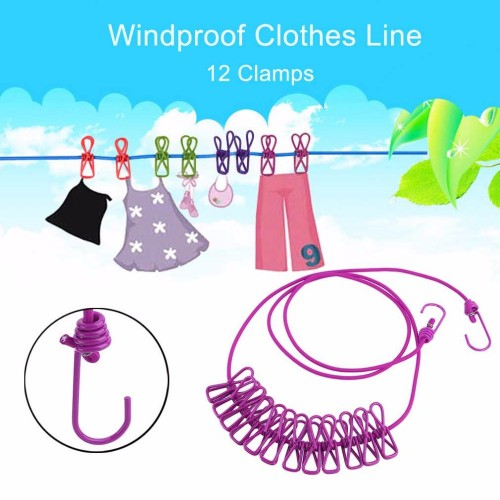 6 Colors Portable Outdoor Travel Windproof Clothes Line Drying Rack 12 Clamp Clip Socks Underwear Clothing