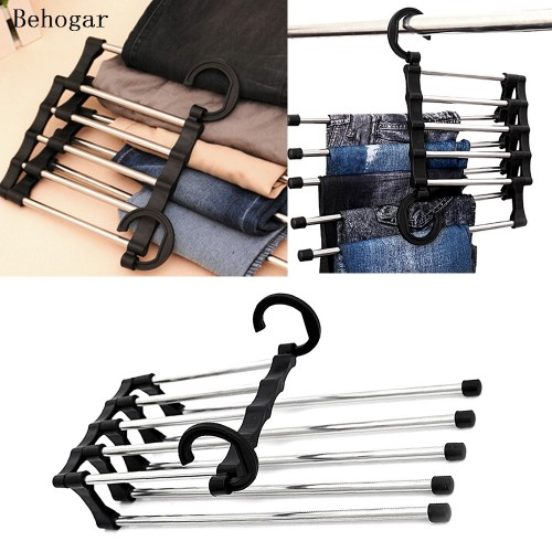 Behogar Foldable Closet Hangers Stainless Steel Trouser Pant Hanger for Vertical Horizontal Hanging Tie Belt Clothes