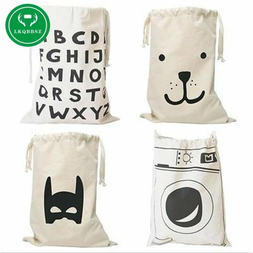 LKQBBSZ Extra large Cotton Canvas Laundry bag Canvas Storage Bag for Toys Cloth Bear Washing machine