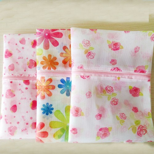 New Flower Clothes Zipper Washing Laundry Bag Mesh Bra Underwear Socks Shirts