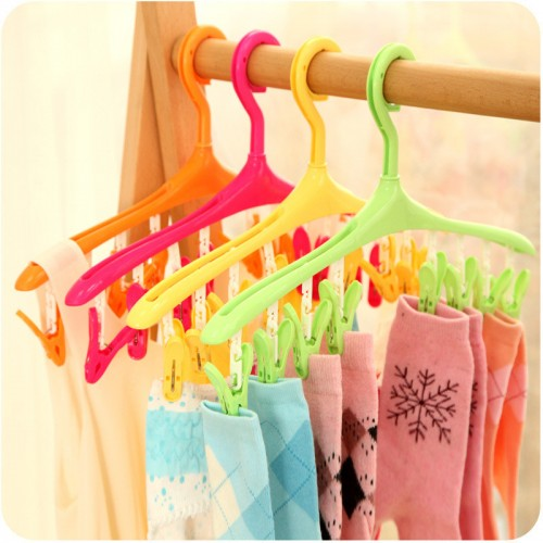 Portable Foldable Cloth Hanger Racks Bathroom Rack Traveling Plastic Clothespin With Hooks Household Accessories