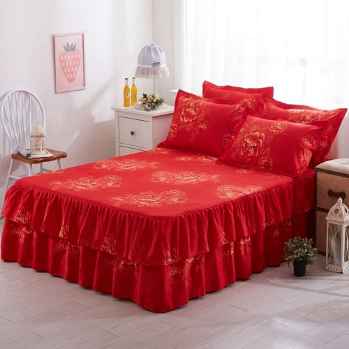 150x200cm Floral Fitted Sheet Cover Graceful Bedspread Lace Fitted Sheet Bedroom Bed Cover Skirt Wedding Housewarming