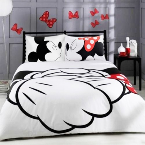 Disney mickey minnie valentine duvet cover set king queen full twin size bed linen set