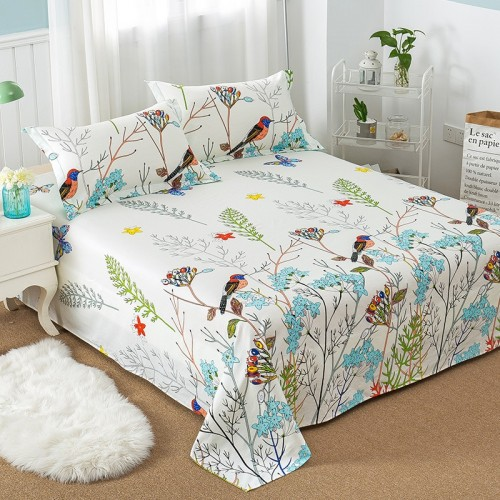 Floral Bird Pattern Flat Sheet 100 Cotton Bed Sheet for Child Kids Adults Twin Full Queen