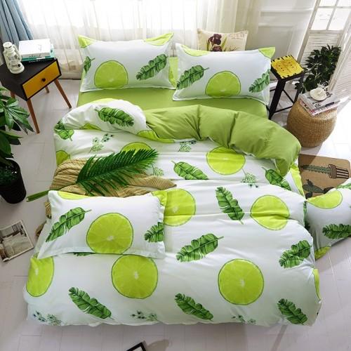 Green lemon Winter Bedding Sets Full King Twin Queen King Size 4Pcs Bed Sheet Duvet Cover