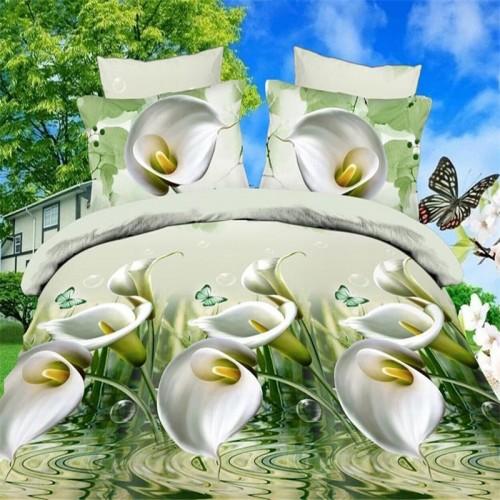 HOME Textiles Sale 4Pcs 3D Bedding Sets Flower Cartoon Bed Set Queen Size Bed