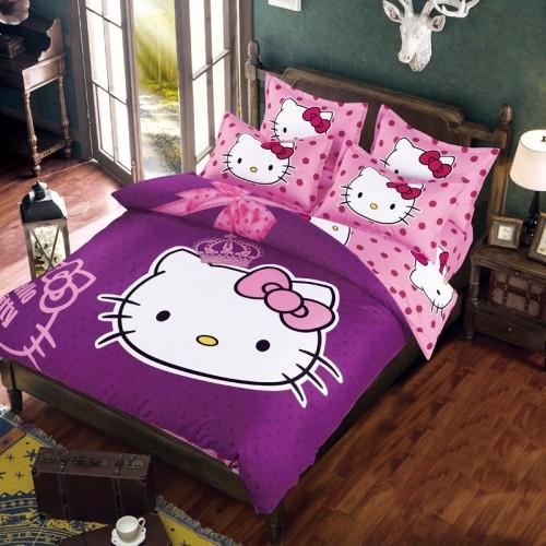 Hello Kitty Bedding Set Children Bed Linen Cartoon Duvet Cover Set with Bed Sheet Pillow Case