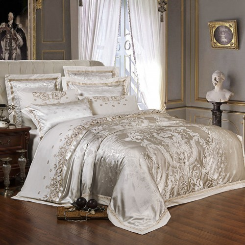 Sliver Golden Luxury Satin Jacquard bedding sets Embroidery bed set double queen king size duvet cover