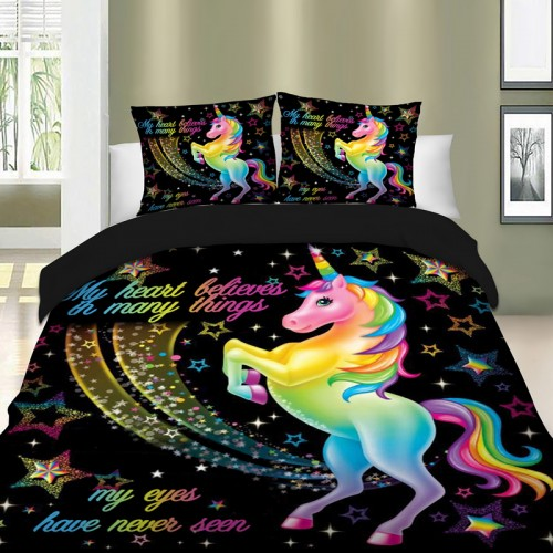 Unicorn Bedding Set Star Cartoon Duvet Cover Pillow Cases Twin Full Queen King Super King