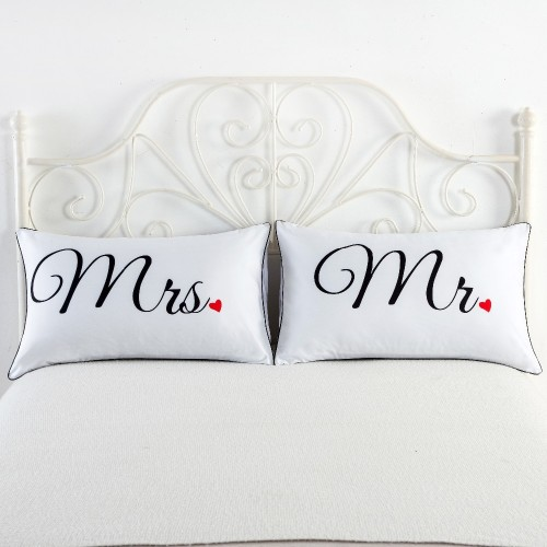 White Black Heart Skull Printing Couple Pillow Case Home Decorative Pillow Cover Pillowcases 2pcs lot 48x74cm