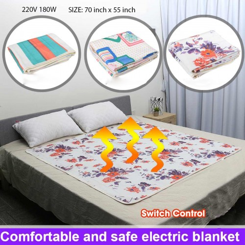 Korean Double Bed 70 inch x 55 inch Winter Electric Blanket Warmer Heated Thermostat Warm Pad