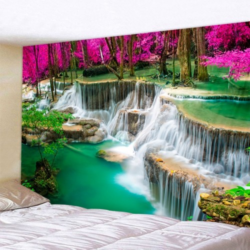 3D Beach Towel Waterfall Landscape Beautiful Forest Stream Printing Wall Carpet Yoga Mat Home Decor