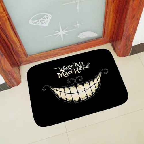 40x60cm We Re All Mad Here printed Doormat Floor Mat Home Creative Mat Super Soft Absorbent