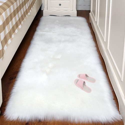 Artificial Wool Carpet Rectangle Square garnish Faux Mat Seat Pad Plain Skin Fur Plain Fluffy Area