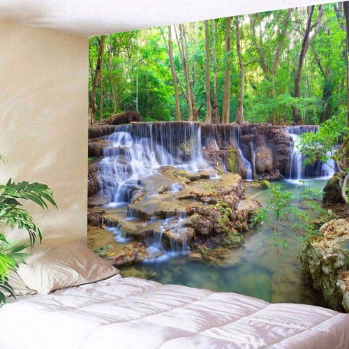 Beautiful Wall Hanging Tapestry Forest Beautiful Waterfall Hd Scenery Beach Towel Nature Tenture Mural Polyester Carpet
