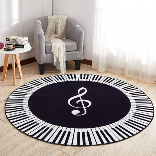 EHOMEBUY New Carpet Music Symbol Piano Keys Black White Round Carpet Anti Slip Rugs Home Bedroom