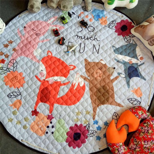 Home decor Kids room Carpet round 150 150cm fox baby play mat Patchwork picnic blanket ANITSLIP