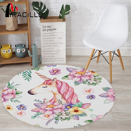 Miracille Cute Unicorn Designer Round Mat Floor Balcony Doorway Welcome Door Carpets Home Decor For Washroom