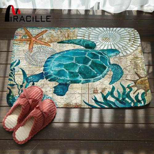 Miracille Marine Style Door Mat Floor Carpet for Living Room Sea Turtle Pattern Coral Fleece Rug