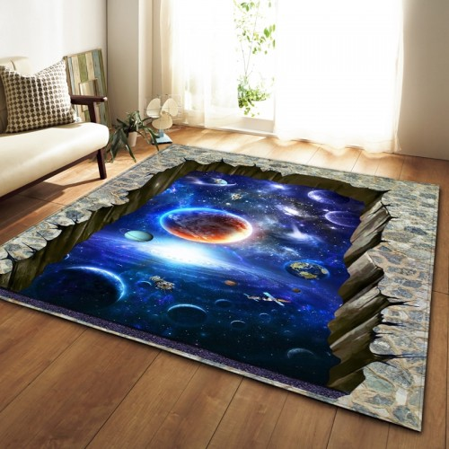 Nordic Carpets Soft Flannel 3D Printed Area Rugs Parlor Galaxy Space Mat Rugs Anti slip Large