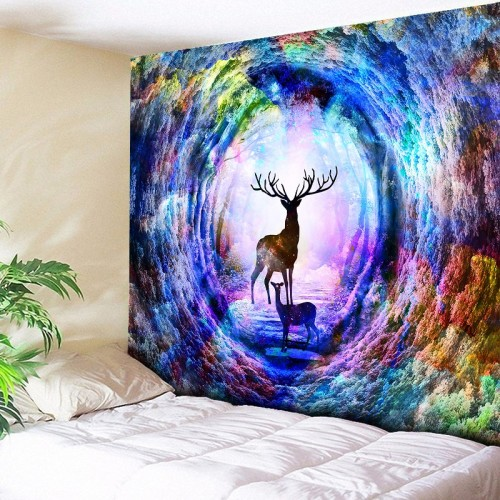 Plus Size Large Wall Tapestry Multicolor Rainbow Elk Tree Hole Hippie Psychedelic Tapestry Wall Hanging Couch