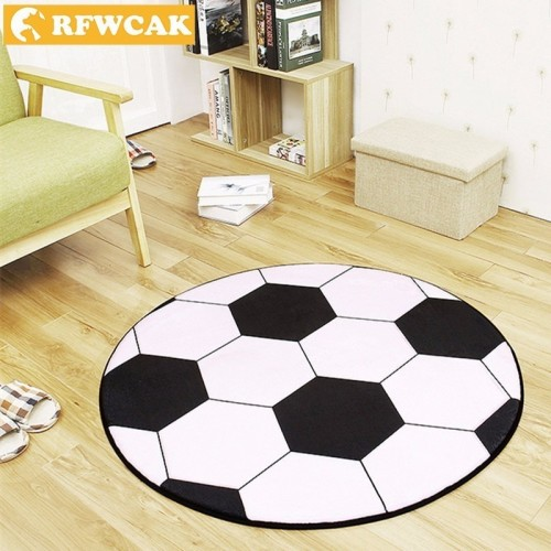 RFWCAK New Polyester Anti slip Ball Round Carpet Computer Chair Pad Football Basketball Living Room Mat