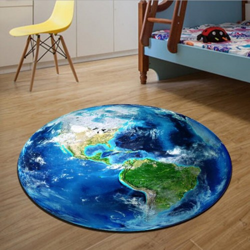 Round Carpet 3D Print Earth Planet Soft Carpets Anti slip Rugs Computer Chair Mat Floor Mat
