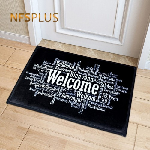 Welcome Doormat Entrance Mat Hallway Simple Black White Printed Anti Slip Floor Mat Area Rugs Funny