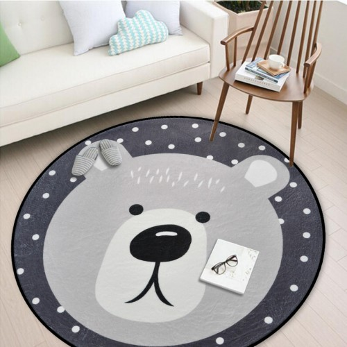 White Grey Cartoon Animals Bear Fox Panda Round Tapete For Living Room Bedroom Home Decor Carpet