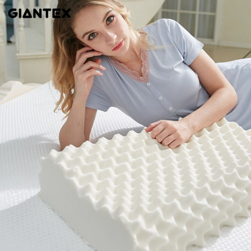 GIANTEX 60x38cm Natural Latex Pillow Sleeping Bedding Cervical Massage Pillow Health Neck Bonded Head Care Memory
