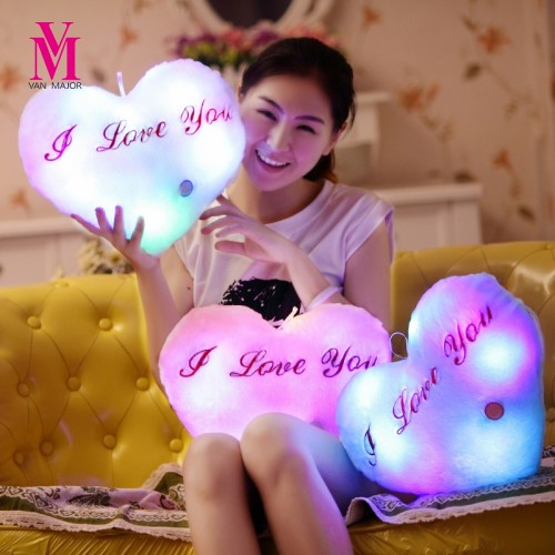 Vanmajor Colorful Night Light Kids Plush Toys Shining Luminous LED Pillow Plush Toys Valantines Gifts Baby