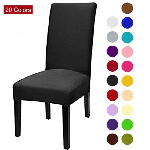 Solid Color Chair Cover Spandex Stretch Elastic Slipcovers Chair Covers White For Dining Room Kitchen Wedding