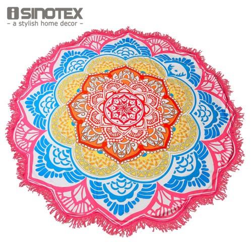Mandala Beach Towel Indian Large Lotus Printing Yoga Mat Round Tassel Tapestry Totem Blanket Hippy Boho