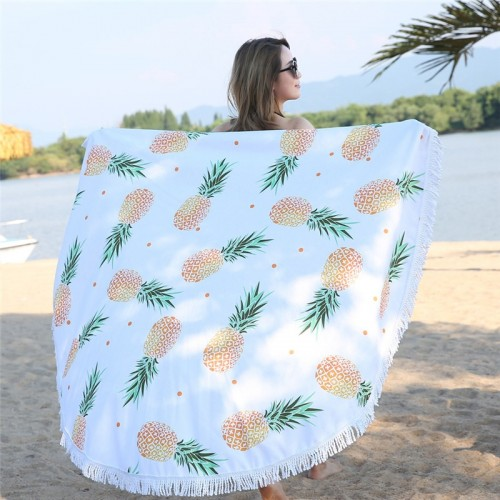 Pineapple Print Microfiber Tapestry 150cm Large Round Tassel Cotton Beach Towel for Adults Blanket Bath Towel