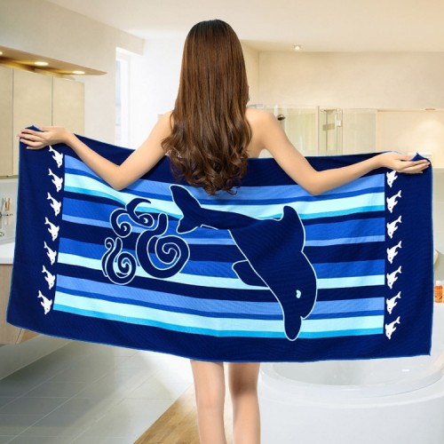 Sea Dolphin Large Rectangle Bath Towel Microfiber For Adults Beach Towel Microfiber Travel Fabric Quick Drying