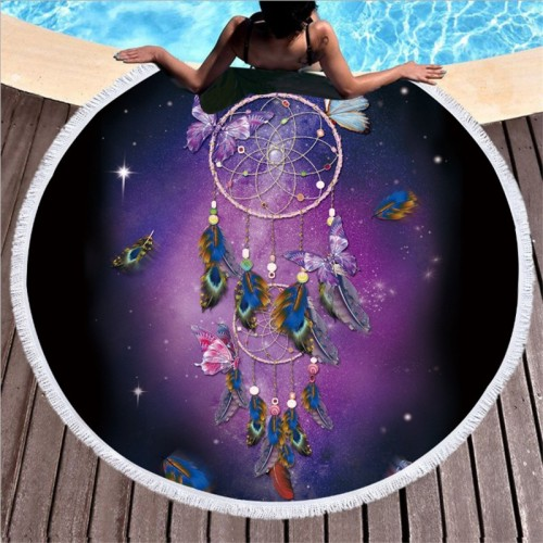 XC USHIO Round Beach Towel With Tassel Dream Catcher Microfiber 150cm For Swimming Bath Picnic Wall