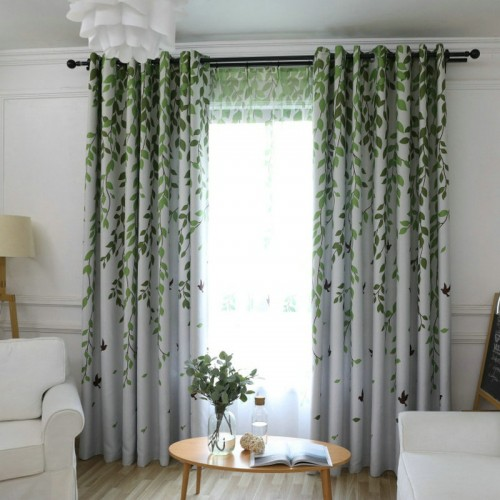 Blackout Curtain For Living Room Leaves Birds Printed Drapes Bedroom Kitchen Balcony Pastoral Fresh Sheer for