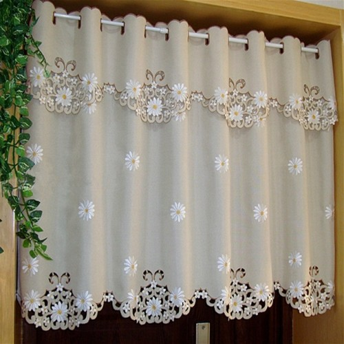 British Half curtain Embroidered Window Valance Customize Light Shading Curtain for Kitchen Cabinet Door A 43