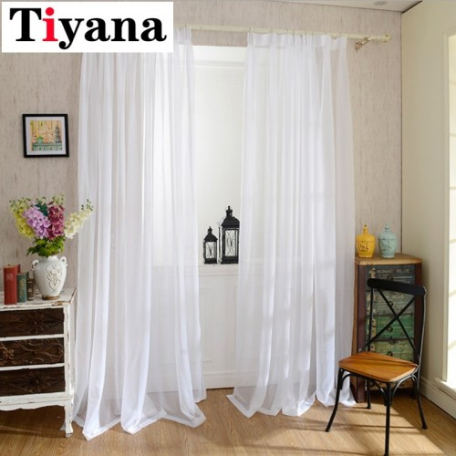 Europe Solid White Yarn Curtain Window Tulle Curtains For Living Room Kitchen Modern Window Treatments Voile